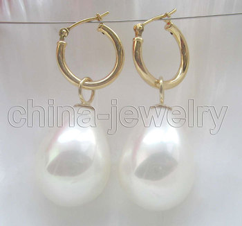 20 mm, spilgti balta south sea shell pearl auskari
