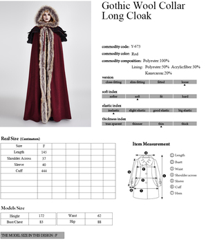 2018 Punk Rave Gothic Winter Men women palace Cosplay Jacket Cape,Wool callor long cloak ,Visual Kei Rock clothing