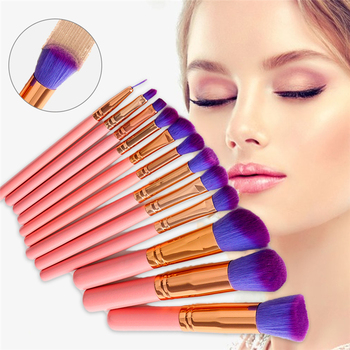 12Pcs Profesionālās Make Up Otu Komplekts Uzacu Korektoru, Lūpu, Vaigu Loose Powder Foundation Otu Purpura Rozā Matu Make Up Otas