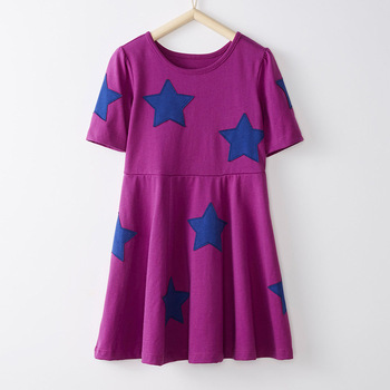 Little Maven New Summer Kids Short Purple Solid Five-pointed star Applique O-neck Kintted Cotton Girls 4-10yrs Casual Dresses
